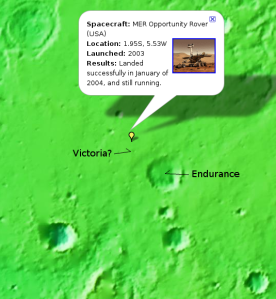 Endurance Crater on Google Mars