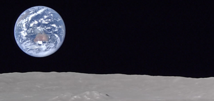 Australia rising over the north pole of the Moon