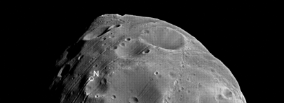 north pole of Phobos from Mars Express
