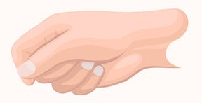 approximate recommended position of thumb on forefinger for relaxed upper body in distance running (image credit 123rf.com)